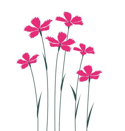 흰색 배경에 핑크 꽃 일러스트