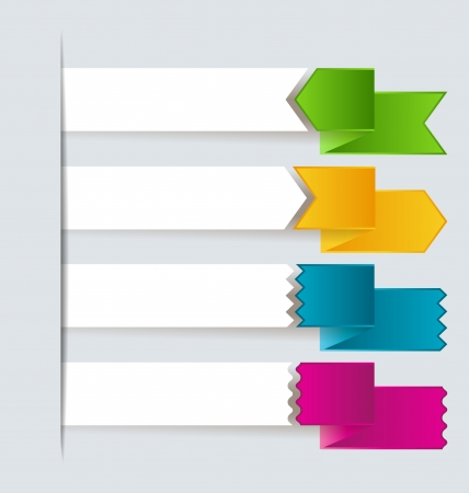 place for text: Different colored ribbons with place for text Illustration
