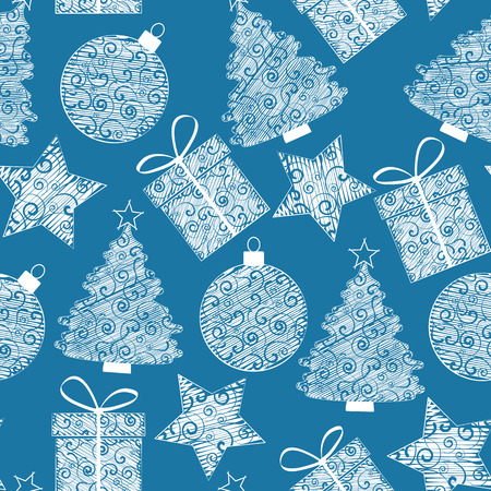 Christmas seamless patterns of Christmas decorations Vector