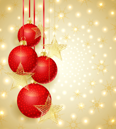 christmas ball: Gold Christmas background with Christmas balls and snow