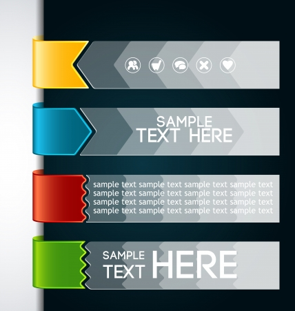 Color bookmarks for different applications on a dark background Vector