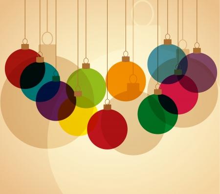 navidad elegante: Retro fondo de Navidad con bolas de Navidad Vectores