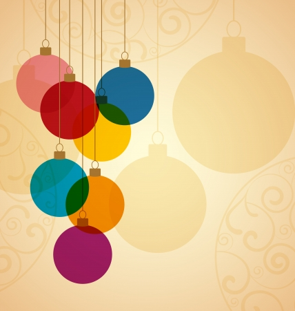 Retro Christmas background with Christmas balls Ilustração