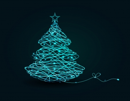 Christmas tree on a dark background Ilustração