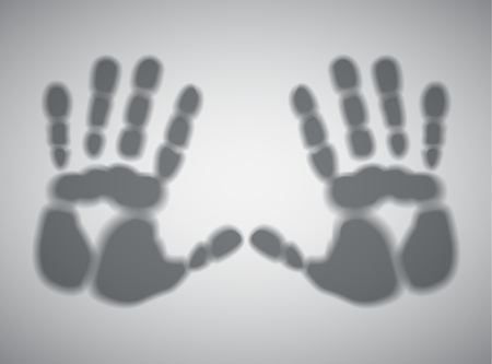 Vector illustration of handprints on a gray background Vector