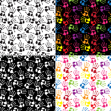 Set seamless pattern handprints in the colors Vector