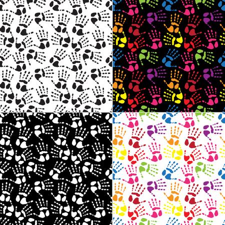 handprints: Set seamless pattern handprints in the colors