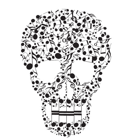 metal music: Skull made from notes on a white background Illustration