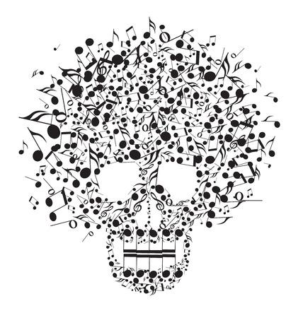 heavy metal music: Cranio fatto da note su uno sfondo bianco Vettoriali