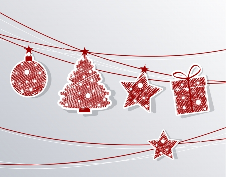 Set Christmas labels with different shapes Christmas decoration