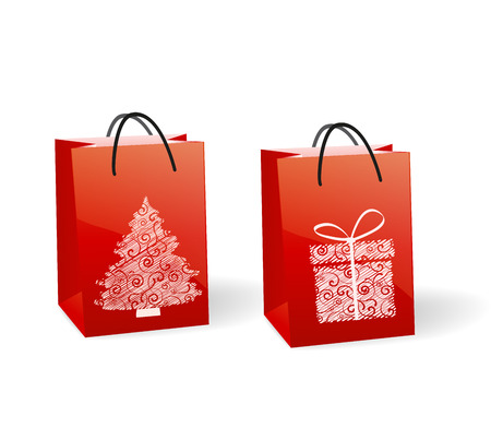 Red paper bags with a Christmas theme Vector