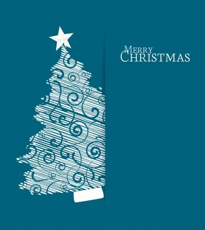 Kerstboom op een rode achtergrond Stock Illustratie