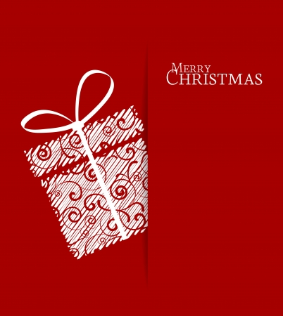 red gift box: Christmas present on a red background