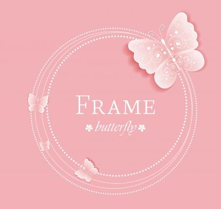 Roze achtergrond met vlinders op het frame Stock Illustratie