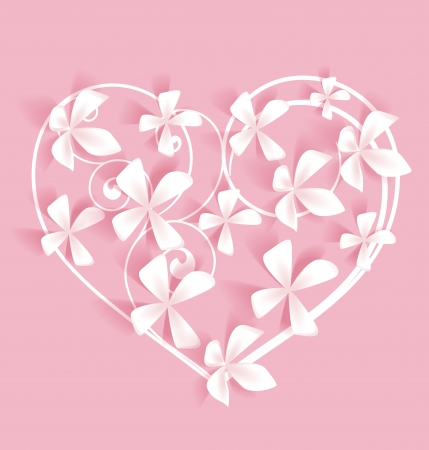 Pink background with heart and white flowers Ilustração