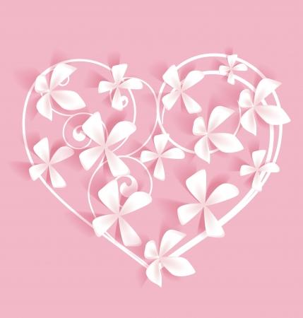 Roze achtergrond met hart en witte bloemen
