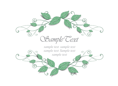 marriage certificate: Decorative frame with leaves on white background Illustration