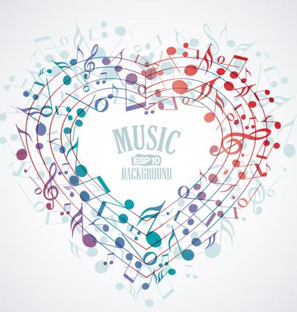 Achtergrond met hart gemaakt van muzieknoten Stock Illustratie