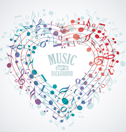 Background with heart made up of musical notes Vector