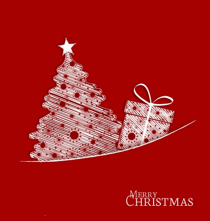 Christmas tree and gift on a red background