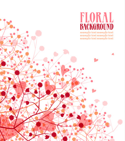 Floral background with hearts on a white background