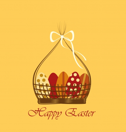 Basket with Easter eggs on orange background Vector