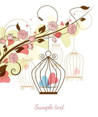 Floral background with birdcages and hearts Vector
