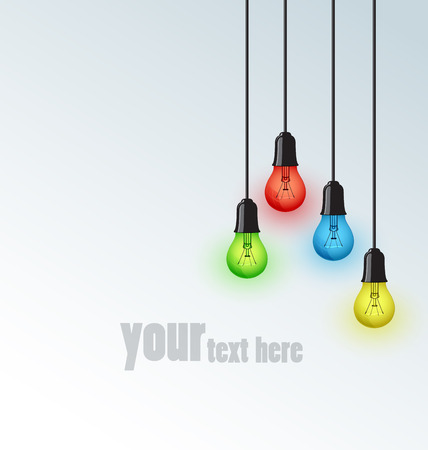 Background with colored bulbs, place for text