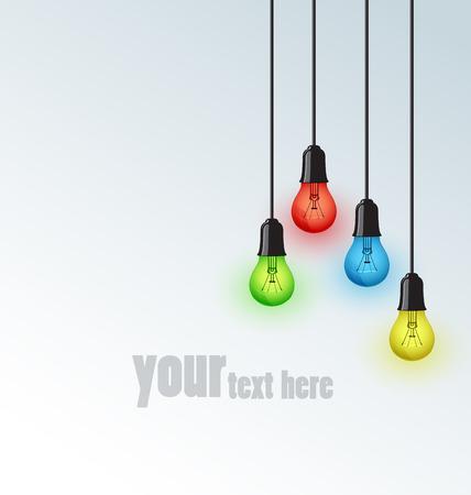for text: Sfondo con lampadine colorate, luogo per il testo