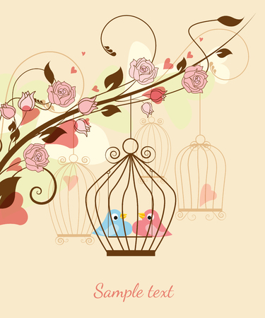 Floral with birds in a cage and hearts Vector