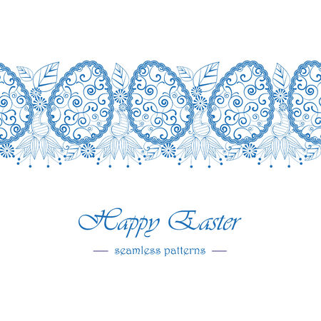 Easter background with eggs, seamless pattern Vector