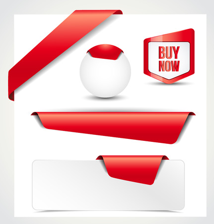 Set of red ribbons, banners, bookmarks for your site Vector