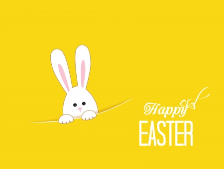 cartoon easter: Yellow background with white Easter rabbit