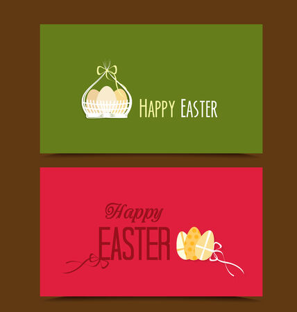 gift basket: Two cards with background Easter basket and eggs