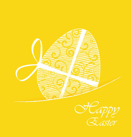 Yellow background with Easter egg Vector
