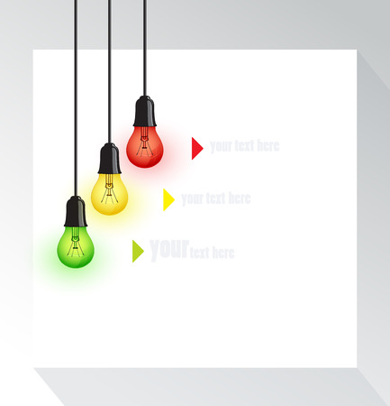 Background with color bulbs, place for text