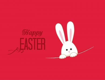 conejo caricatura: Fondo rosado con blanco Conejo de Pascua