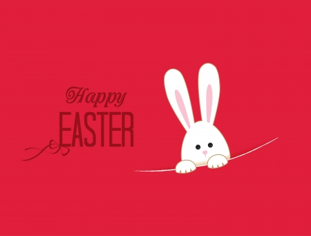 cute rabbit: Pink background with white Easter rabbit