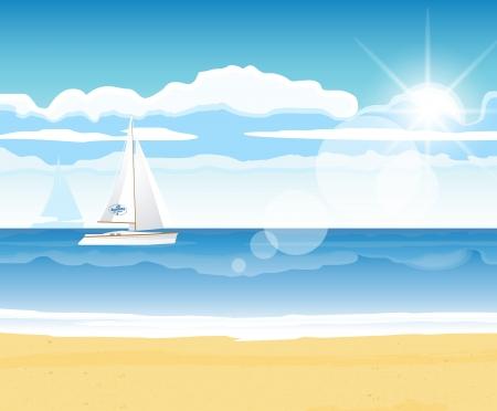 夏のデザインのための地平線にボートで海のビーチ  イラスト・ベクター素材