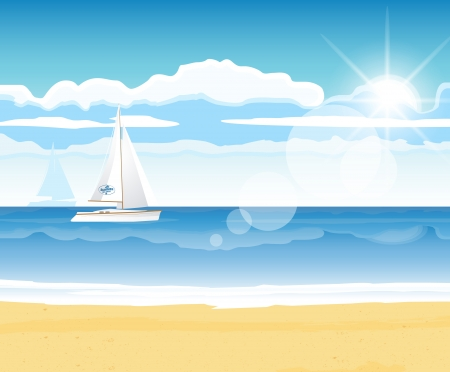 Sea beach with a boat on the horizon for summer design