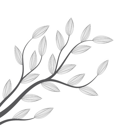 corner design: Silhouette decoration of branches and leaves