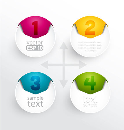 Colorful round numbered banners, design template  Vector
