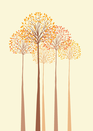 Vector background with autumn trees 일러스트