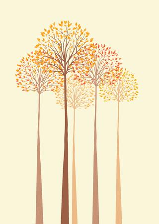 Vector background with autumn trees Stock Illustratie