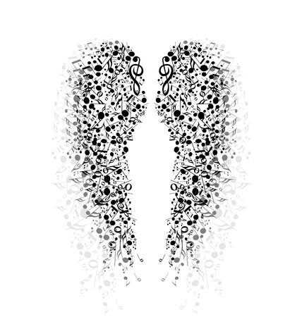 El fondo de las notas musicales en forma de alas