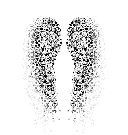 The background of musical notes in the shape of wings Vector