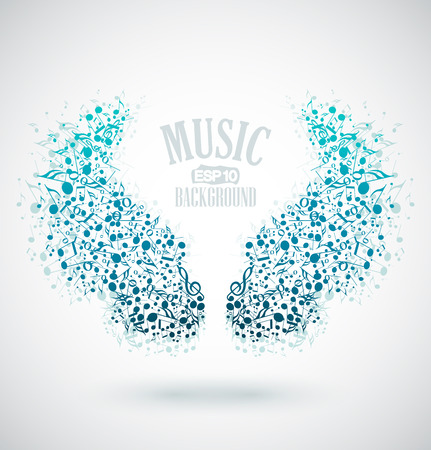 The background of musical notes in the shape of wings