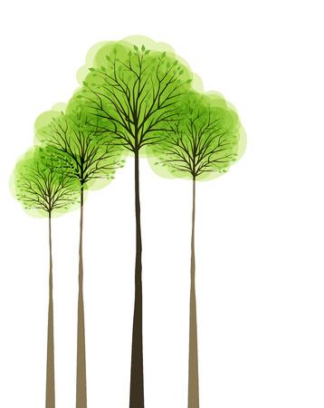 Bomen met bladeren op witte achtergrond