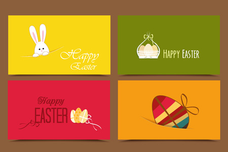 Four cards with background Easter basket and eggs, rabbit Vector