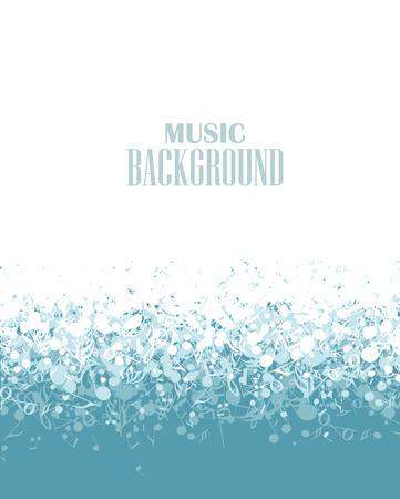 muzikale blauwe achtergrond met notities Stock Illustratie
